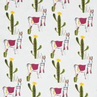 Coton blanc imprimé lama et cactus