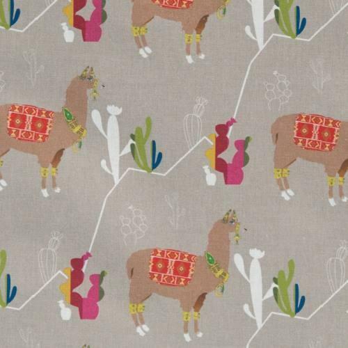 Coton taupe imprimé lama et cactus multicolore
