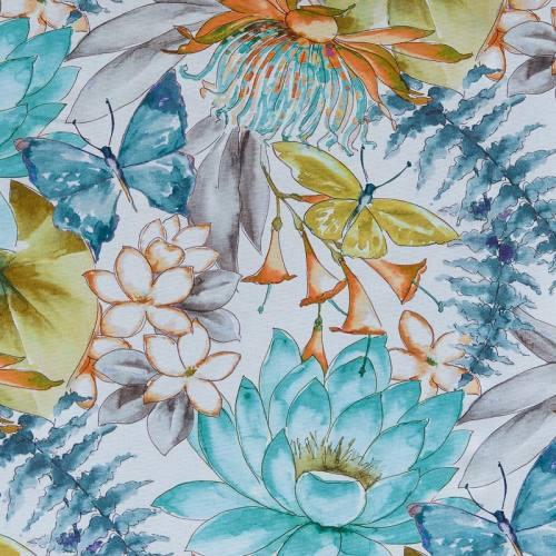 Toile coton impression numérique fleur et papillon aquarelle bleu et orange