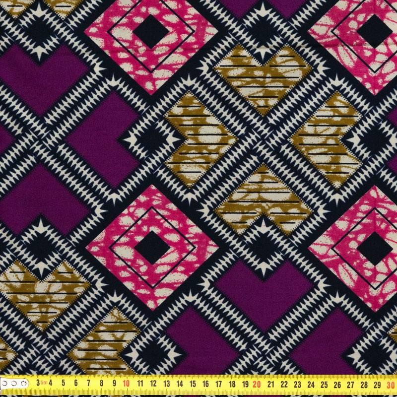 wax tissu africain violet motif g om trique pas cher tissus price. Black Bedroom Furniture Sets. Home Design Ideas