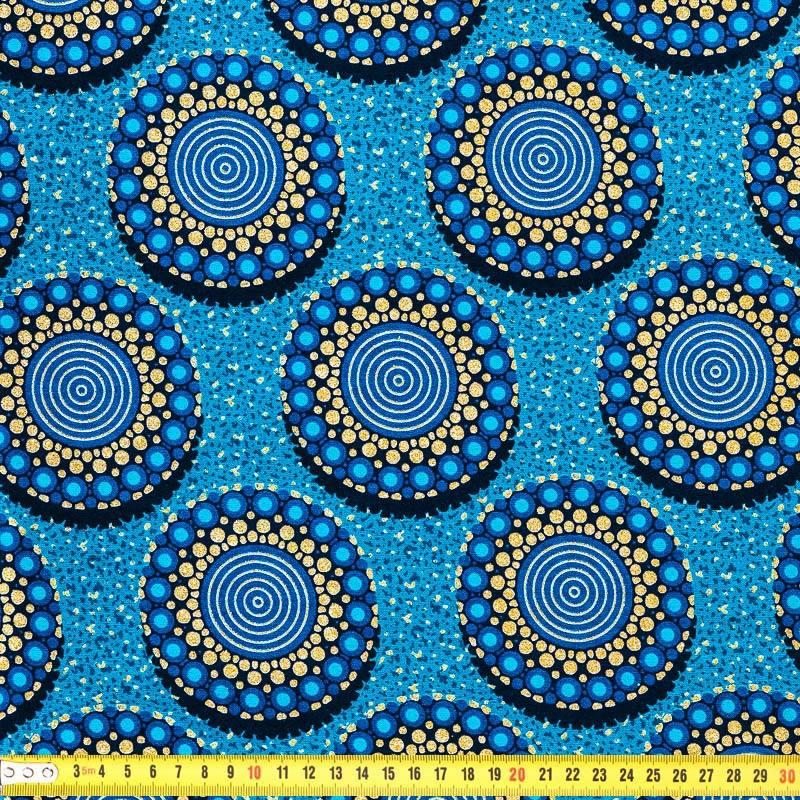 Wax tissu africain bleu motif rond paillet pas cher for Tissu impermeable exterieur pas cher