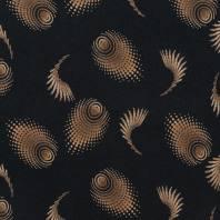 Jersey viscose noir imprimé spirale marron