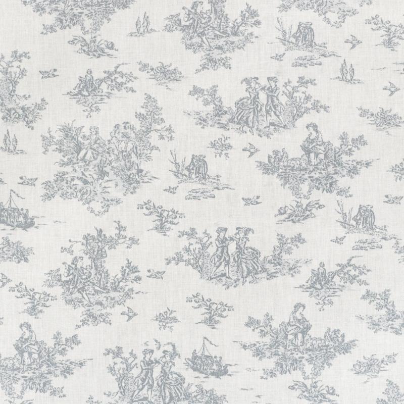 Coton blanc effet toile de jouy grise pas cher tissus price - Toile de coton synonyme ...