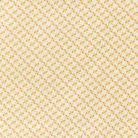 Coton blanc motif hélice orange et jaune