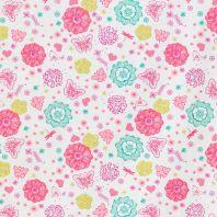 Coton blanc motif fleurs et papillons